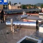 světlovody ALLUX 550 v průběhu montáže na střeše - Kaufland Karlovy Vary